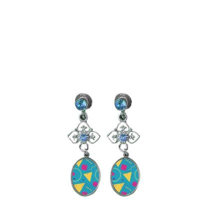Picture of EAR RING - METAL (Zinc-Alloy) oval blue