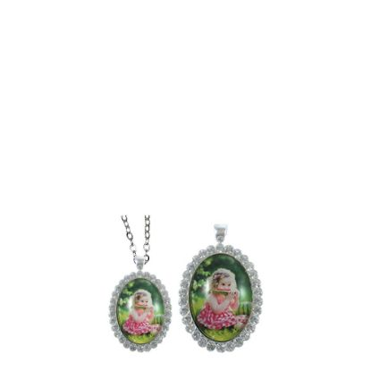 Picture of NECKLACE - ALLOY oval silver with Strass