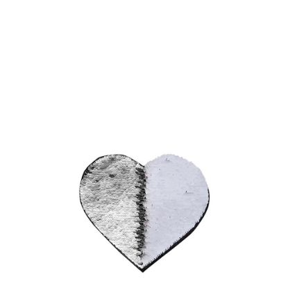Picture of HEART ADHESIVE sequin (SILVER)10.5x12 cm