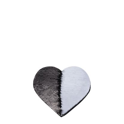 Picture of HEART ADHESIVE sequin (BLACK)10.5x12 cm