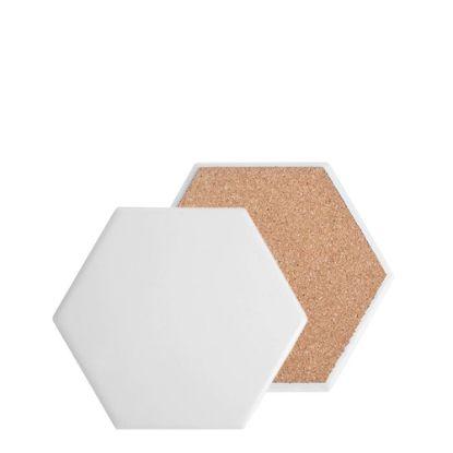 Εικόνα της COASTER (SANDSTONE+cork) HEXAGON 10.8 gloss