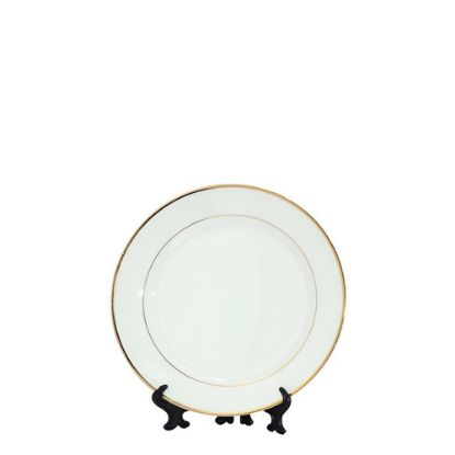 """Picture of PLATE - WHITE with GOLD RIM (7.5"""") 18.75cm"""