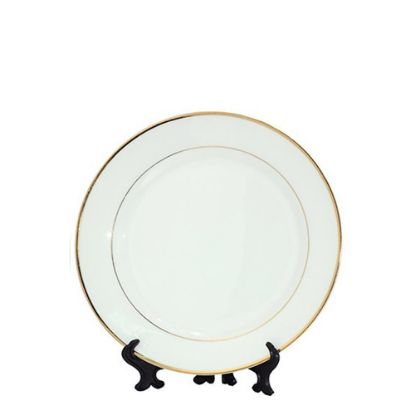 """Picture of PLATE - WHITE with GOLD RIM (10"""") 25cm"""