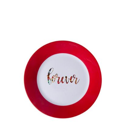 """Picture of PLATE - RED edge (8"""") 20cm"""