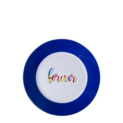 """Picture of PLATE - BLUE edge (8"""") 20cm"""