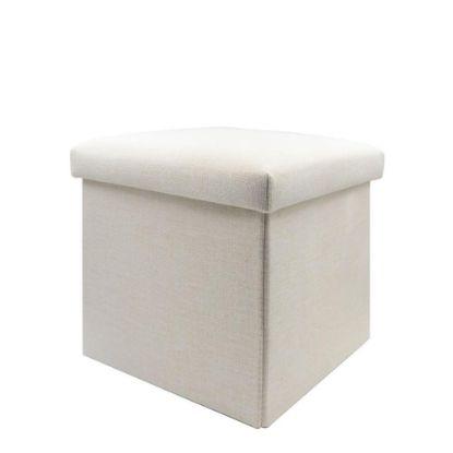 Εικόνα της FOLDABLE STORAGE STOOL (Linen) 38x38x38cm