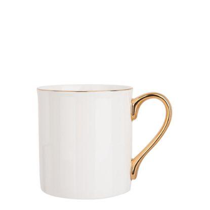 Εικόνα της MUG WHITE (Bone China) 10oz GOLD rim & Hand