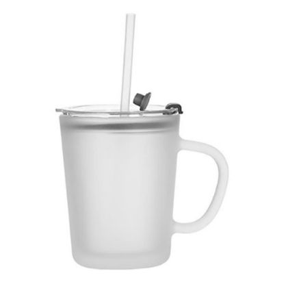 Picture of Glass Mug 13oz (with Lid & Straw) Frosted