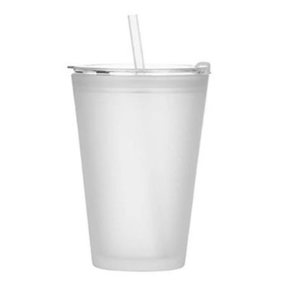 Picture of Glass Tumbler 15oz (with Lid & Straw) Frosted