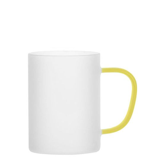 Picture of Glass Mug 12oz (Frosted) YELLOW handle