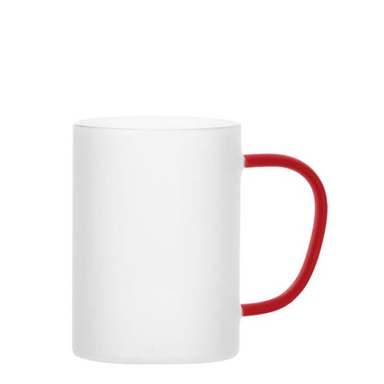 Picture of Glass Mug 12oz (Frosted) RED handle