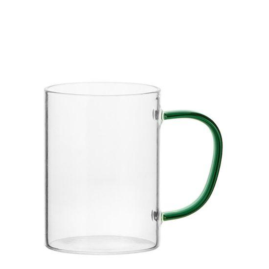 Εικόνα της Glass Mug 12oz (Clear) GREEN Dark handle