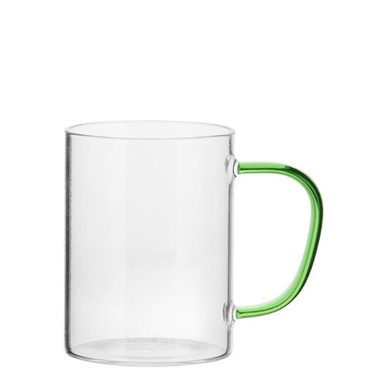 Picture of Glass Mug 12oz (Clear) GREEN Light handle