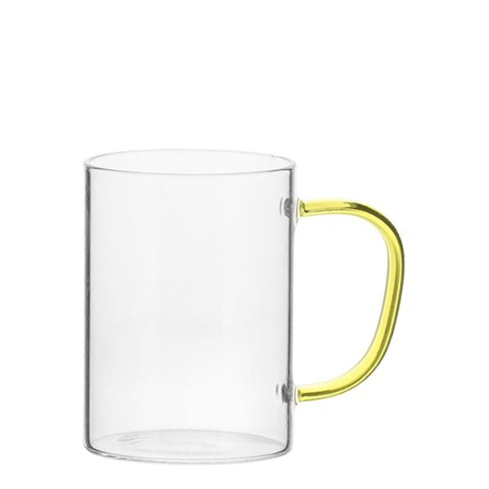 Picture of Glass Mug 12oz (Clear) YELLOW handle