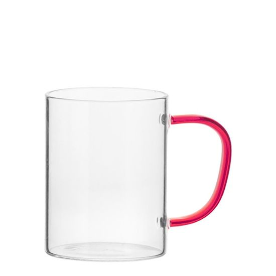 Picture of Glass Mug 12oz (Clear) RED handle