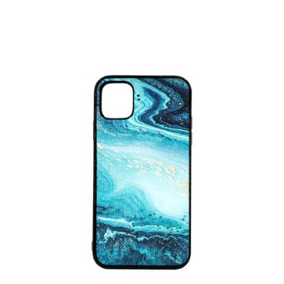 Εικόνα της APPLE case (iPHONE 11) TPU BLACK with TEMPERED GLASS