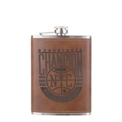Picture of FLASK 8oz - PU Cover (Dark Brown)
