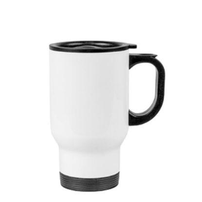 Εικόνα της Stainless Steel Mug 14oz - WHITE with Handle & Cup