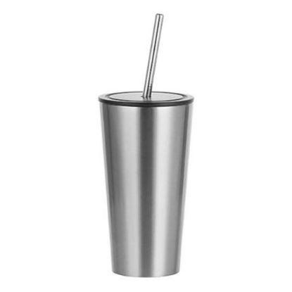 Εικόνα της Tumbler 16oz - SILVER with Black Cup & Straw