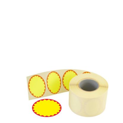 Picture of LABEL ROLL 37X28 OVAL (FLUO Yellow/Red) PERMANENT