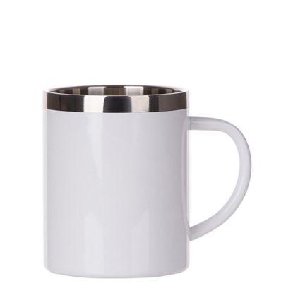 Εικόνα της Stainless Steel Mug 15oz - WHITE with Handle & Silver Lip