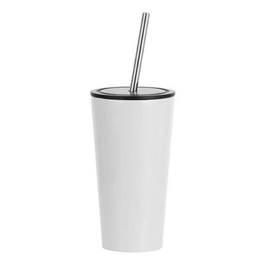 Εικόνα της Tumbler 16oz - WHITE with Black Cup & Straw