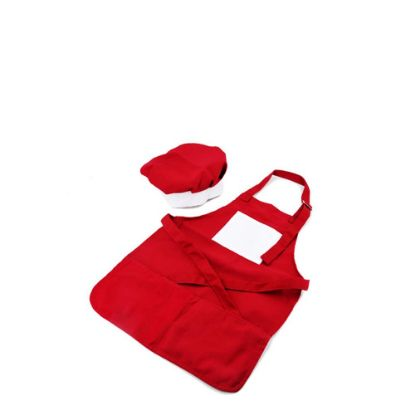 Picture of APRON (RED kids) with CHEF CAP - SMALL