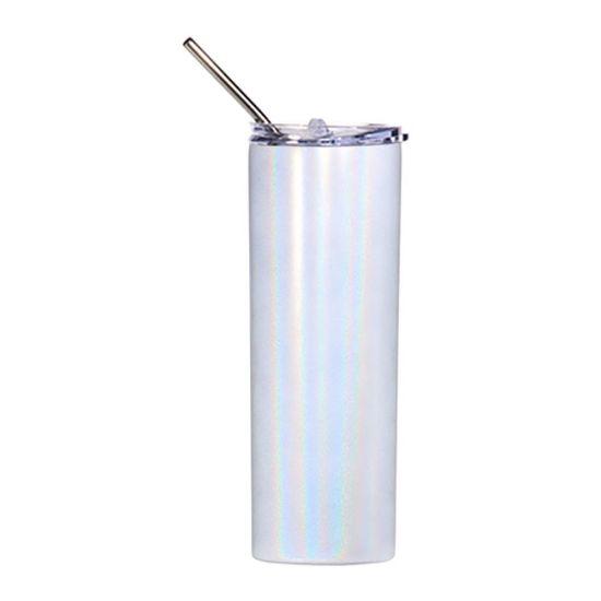 Picture of Skinny Tumbler 20oz WHITE Rainbow Sparkle