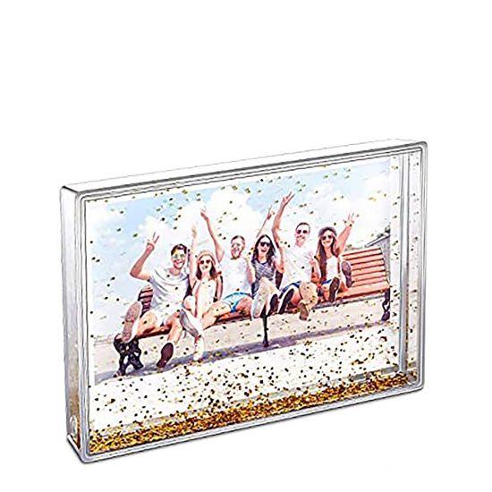 Εικόνα της Acrylic Photo Block (Rectangle-10x15cm) CLEAR with Gold Snow