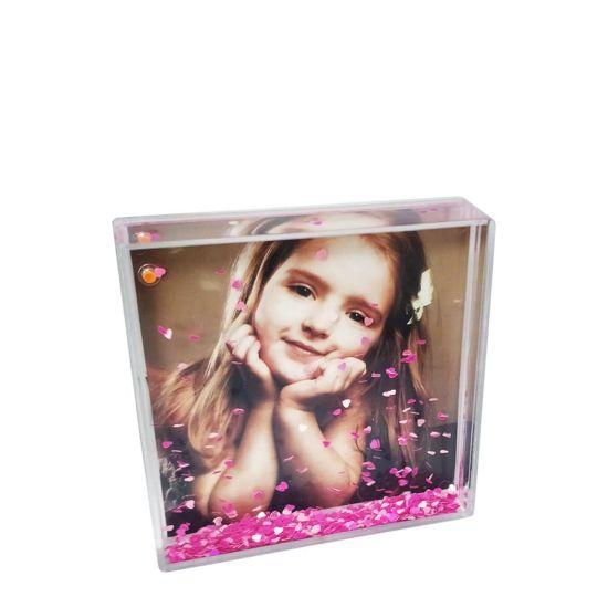 Εικόνα της Acrylic Photo Block (Square-10x10cm) CLEAR with Pink Snow